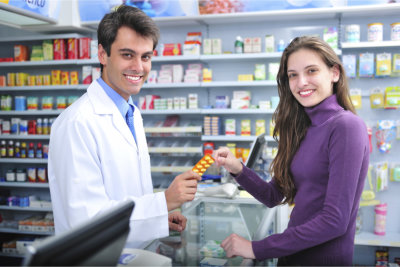 pharmacist and a customer