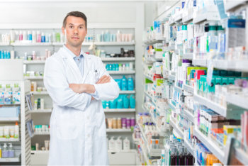 pharmacist and medical supplies